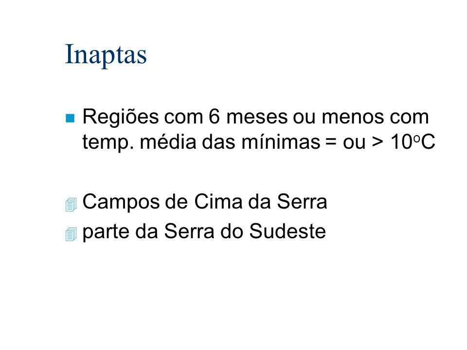 Inaptas Regiões com 6 meses ou menos com temp. média das mínimas = ou > 10oC. Campos de Cima da Serra.