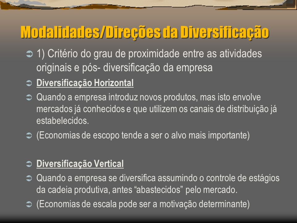 Modalidades/Direções da Diversificação