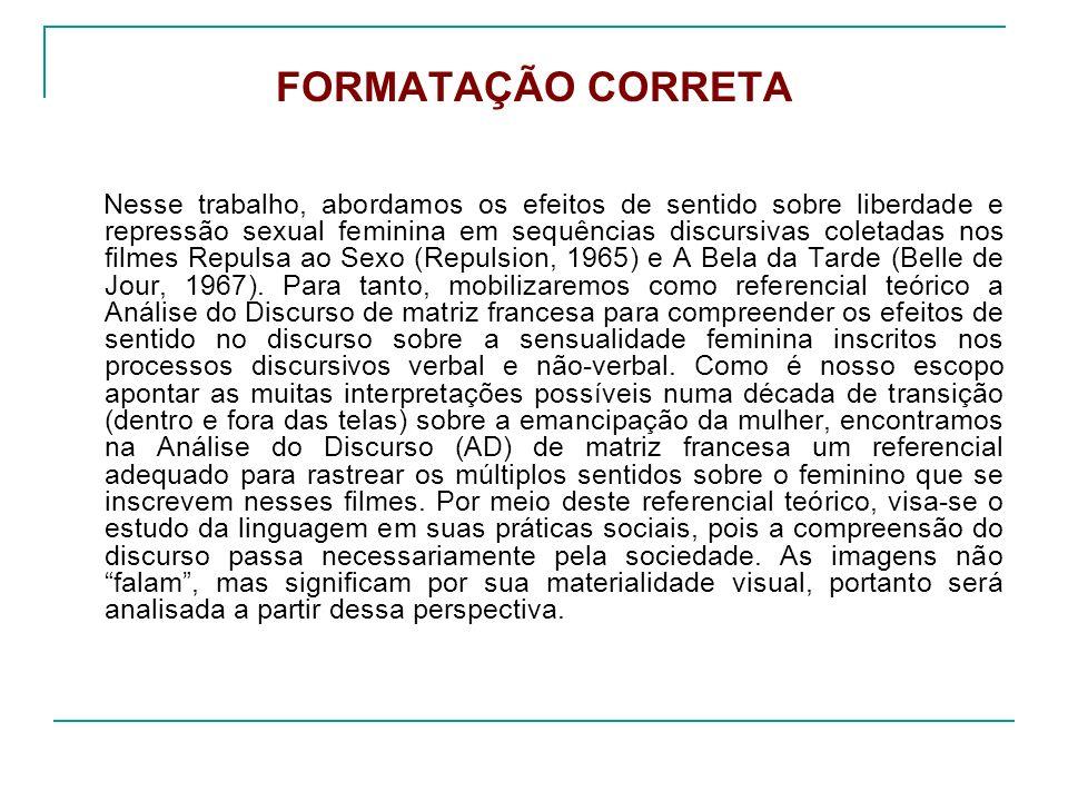 FORMATAÇÃO CORRETA