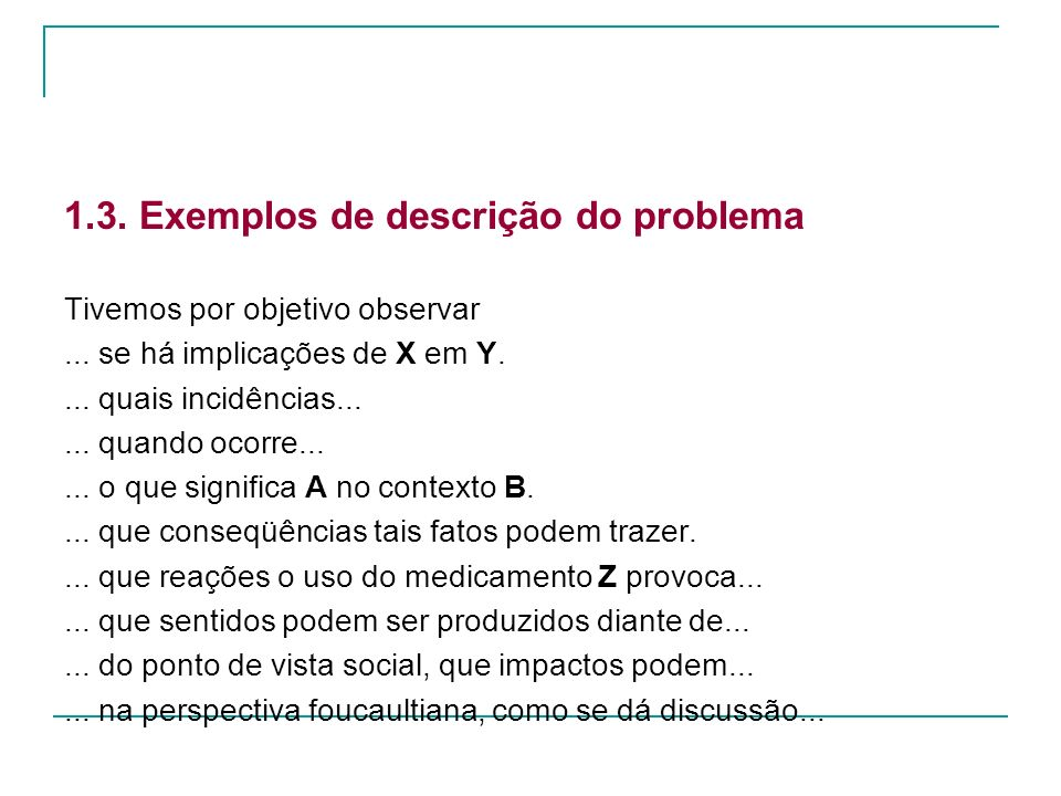 1.3. Exemplos de descrição do problema