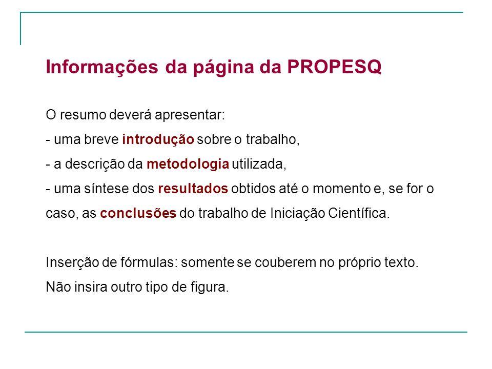 Informações da página da PROPESQ