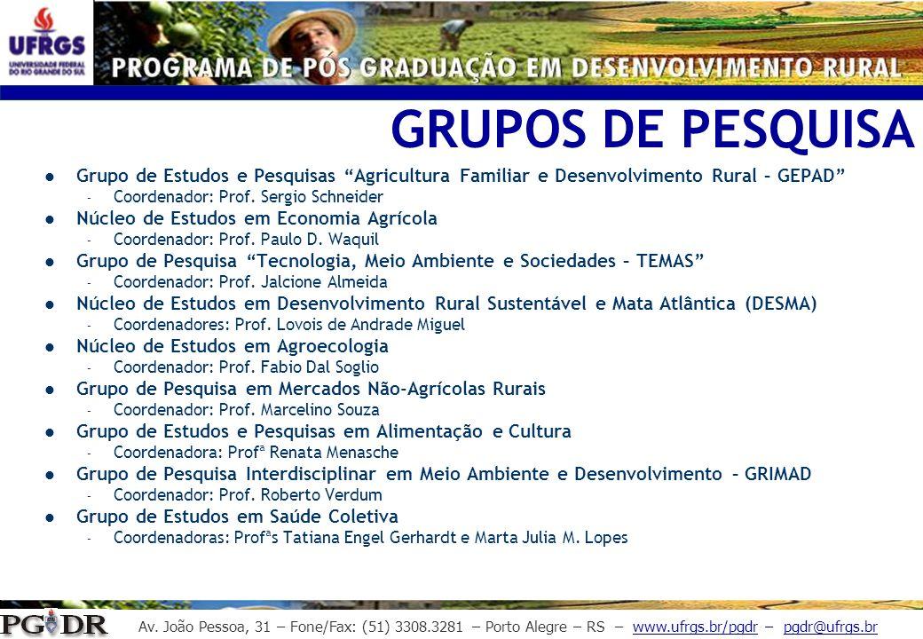 GRUPOS DE PESQUISA Grupo de Estudos e Pesquisas Agricultura Familiar e Desenvolvimento Rural – GEPAD
