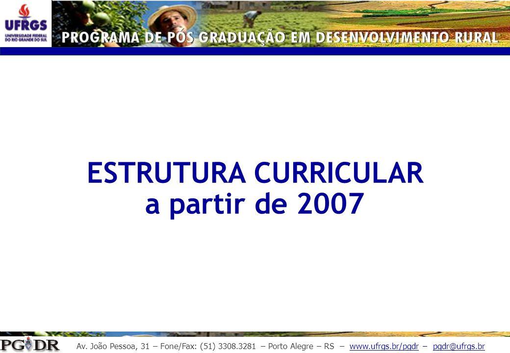 ESTRUTURA CURRICULAR a partir de 2007