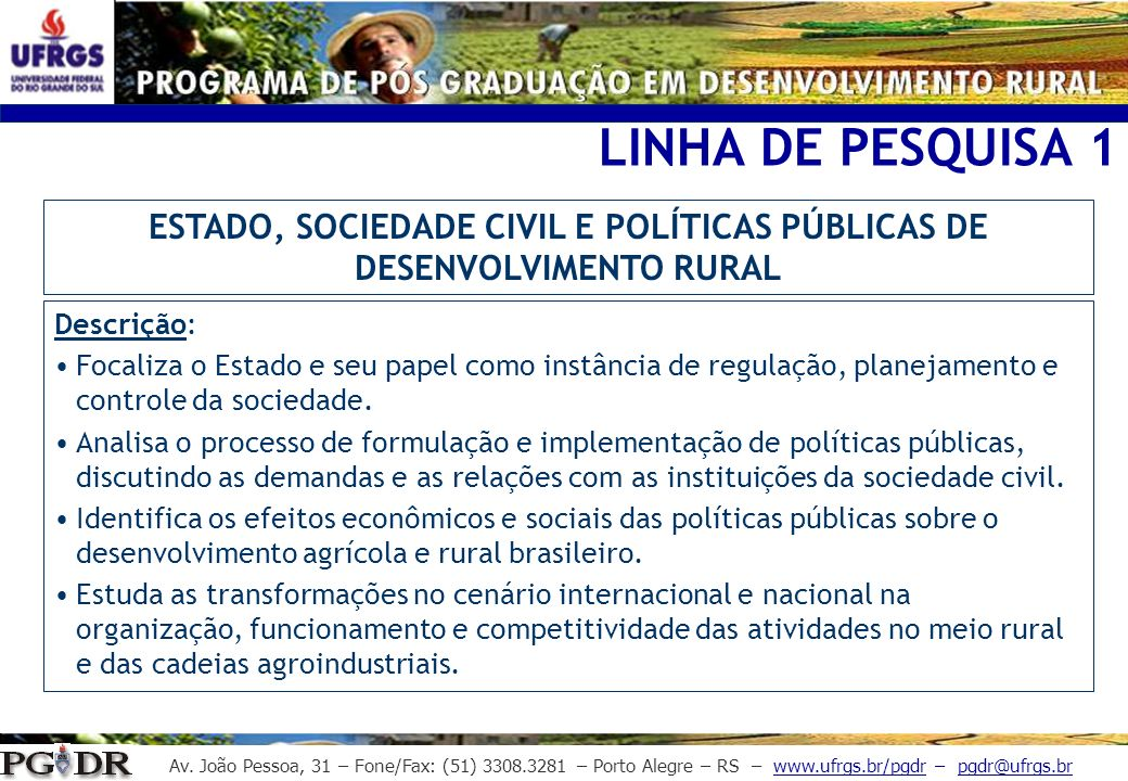ESTADO, SOCIEDADE CIVIL E POLÍTICAS PÚBLICAS DE DESENVOLVIMENTO RURAL