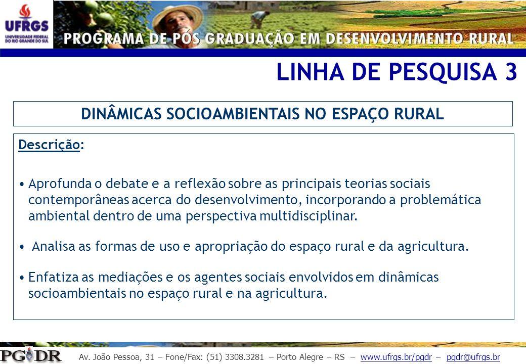 DINÂMICAS SOCIOAMBIENTAIS NO ESPAÇO RURAL