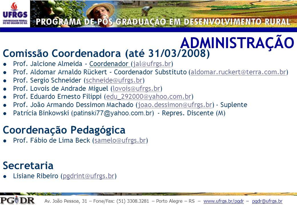 ADMINISTRAÇÃO Comissão Coordenadora (até 31/03/2008)
