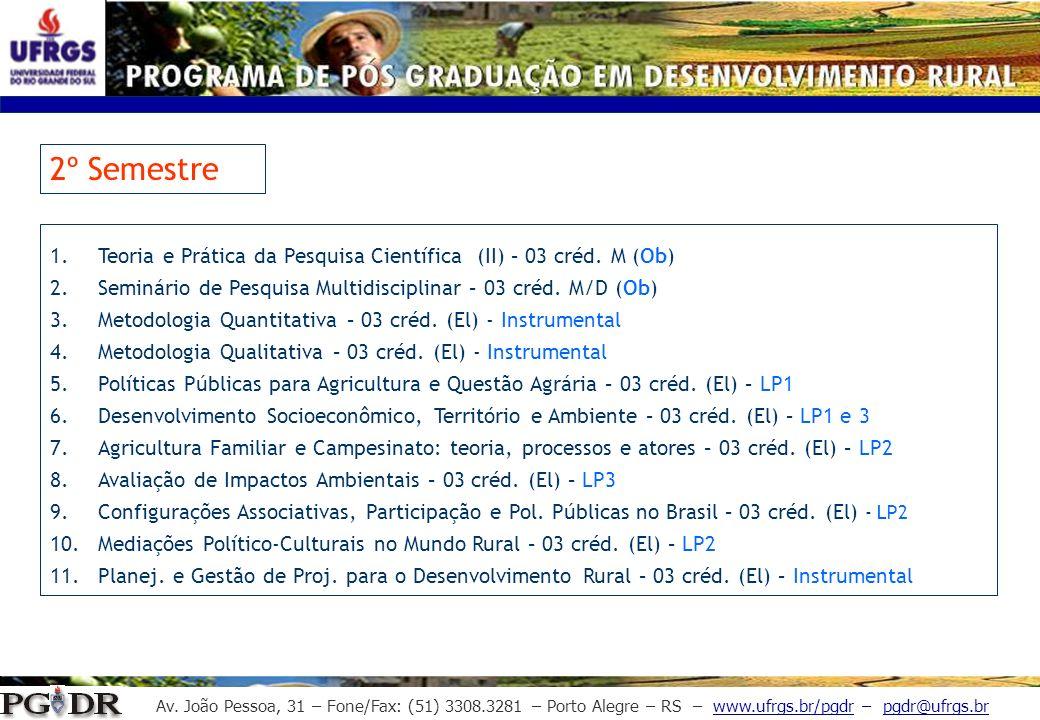 2º SemestreTeoria e Prática da Pesquisa Científica (II) – 03 créd. M (Ob) Seminário de Pesquisa Multidisciplinar – 03 créd. M/D (Ob)