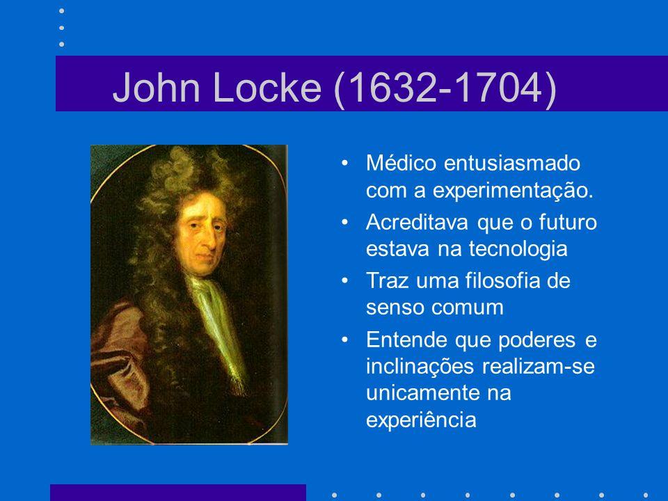 John Locke (1632-1704) Médico entusiasmado com a experimentação.