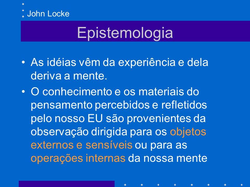 Epistemologia As idéias vêm da experiência e dela deriva a mente.