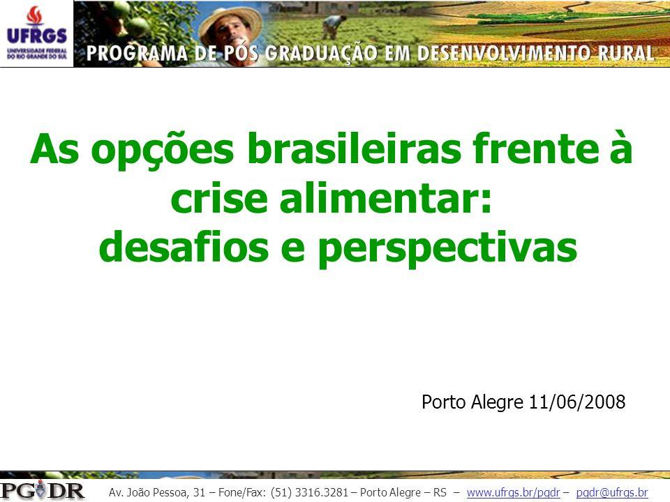 As opções brasileiras frente à crise alimentar: desafios e perspectivas Porto Alegre 11/06/2008