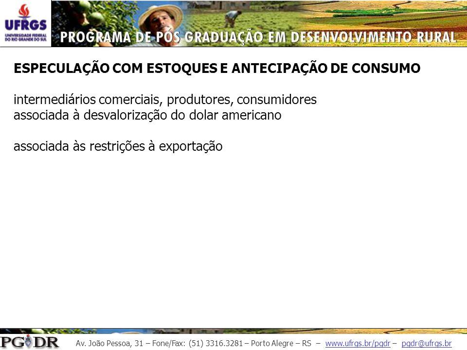 ESPECULAÇÃO COM ESTOQUES E ANTECIPAÇÃO DE CONSUMO intermediários comerciais, produtores, consumidores associada à desvalorização do dolar americano associada às restrições à exportação