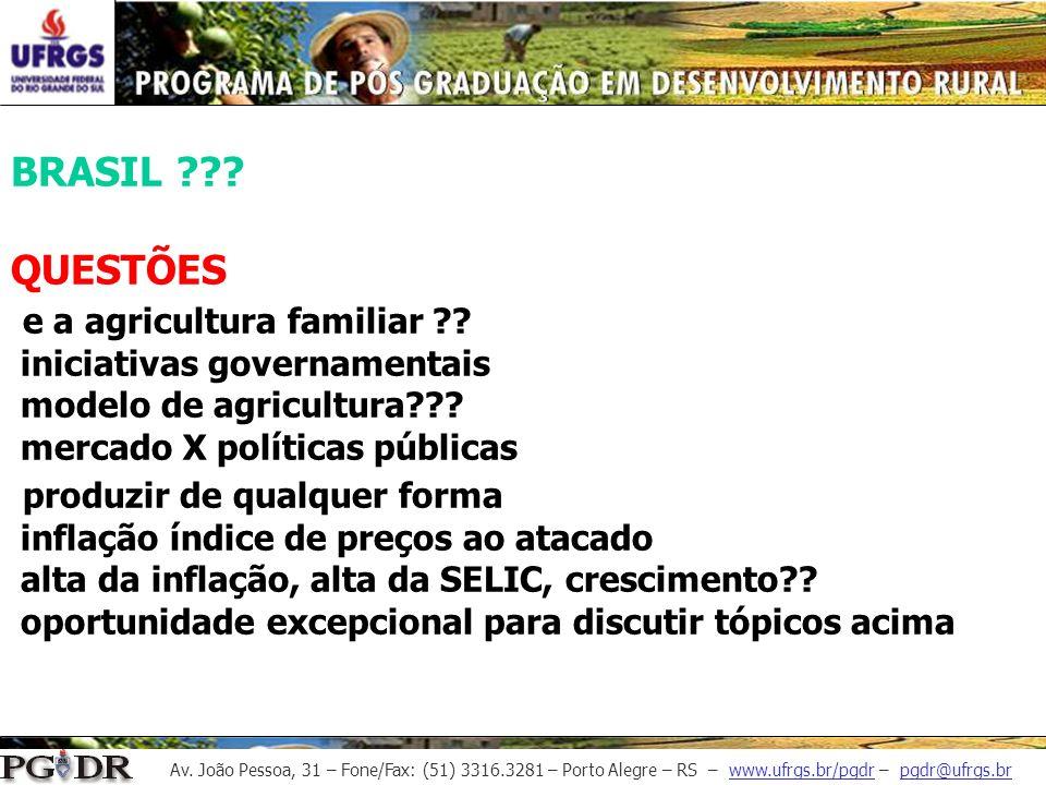 BRASIL. QUESTÕES e a agricultura familiar