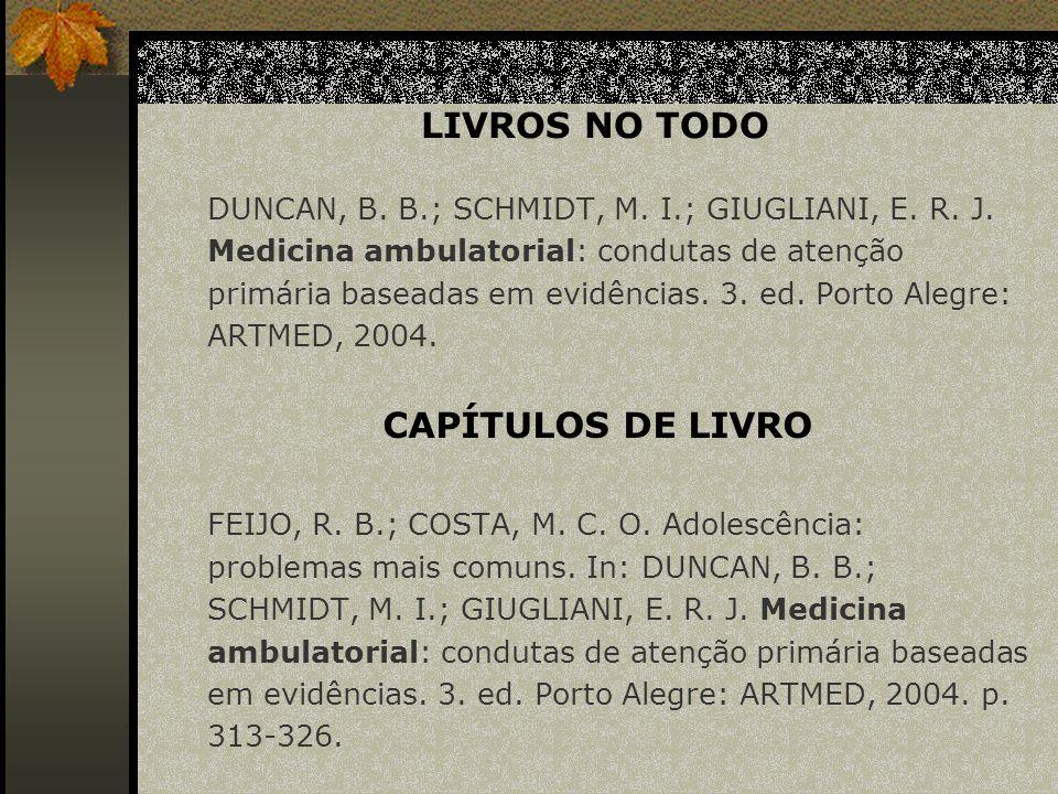 LIVROS NO TODO CAPÍTULOS DE LIVRO