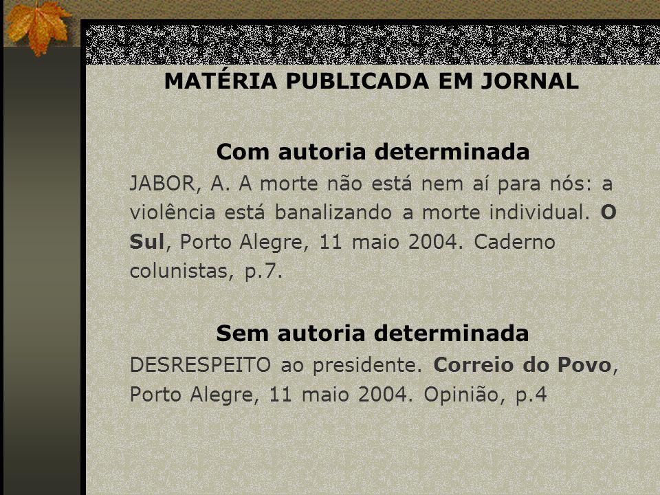 MATÉRIA PUBLICADA EM JORNAL
