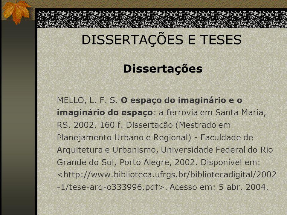 DISSERTAÇÕES E TESES Dissertações
