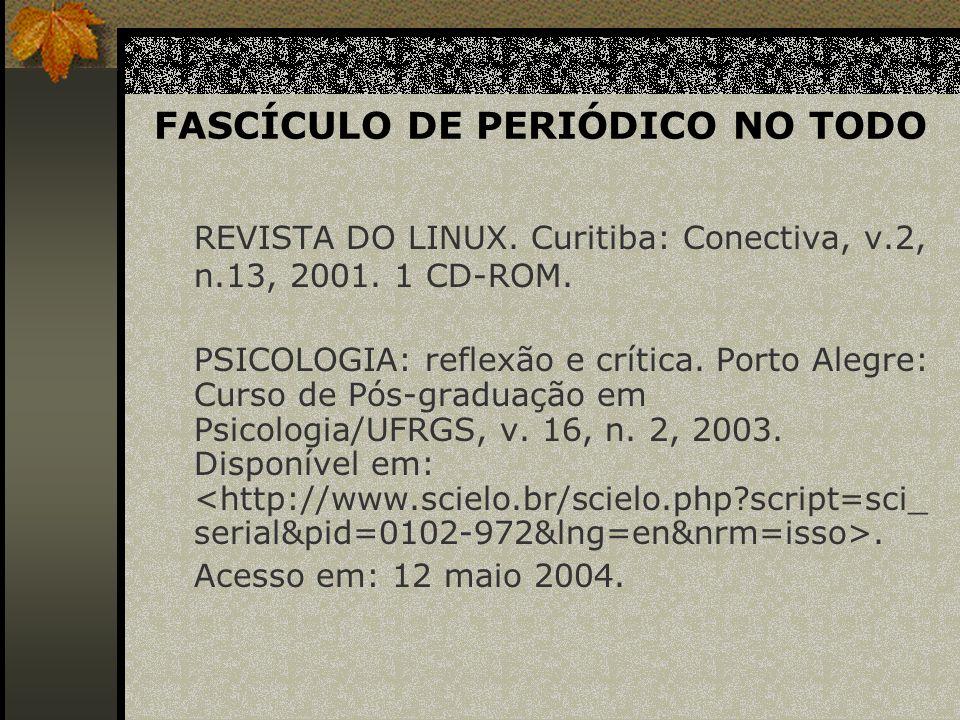 FASCÍCULO DE PERIÓDICO NO TODO