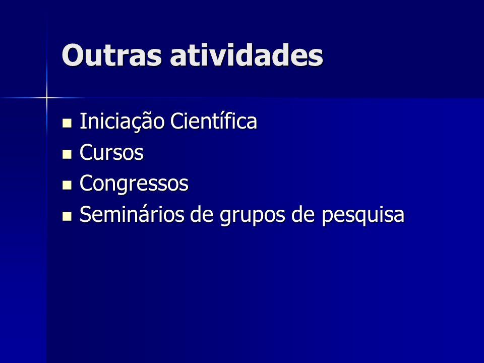 Outras atividades Iniciação Científica Cursos Congressos