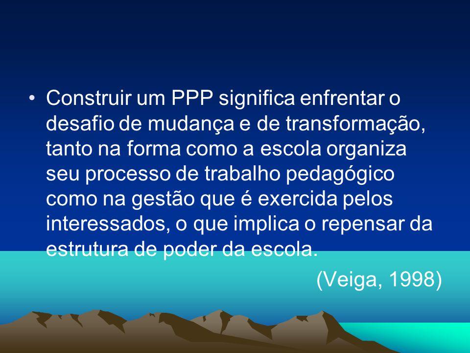 Construir um PPP significa enfrentar o desafio de mudança e de transformação, tanto na forma como a escola organiza seu processo de trabalho pedagógico como na gestão que é exercida pelos interessados, o que implica o repensar da estrutura de poder da escola.