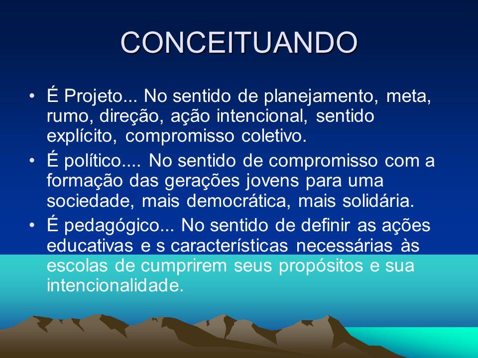CONCEITUANDO É Projeto... No sentido de planejamento, meta, rumo, direção, ação intencional, sentido explícito, compromisso coletivo.