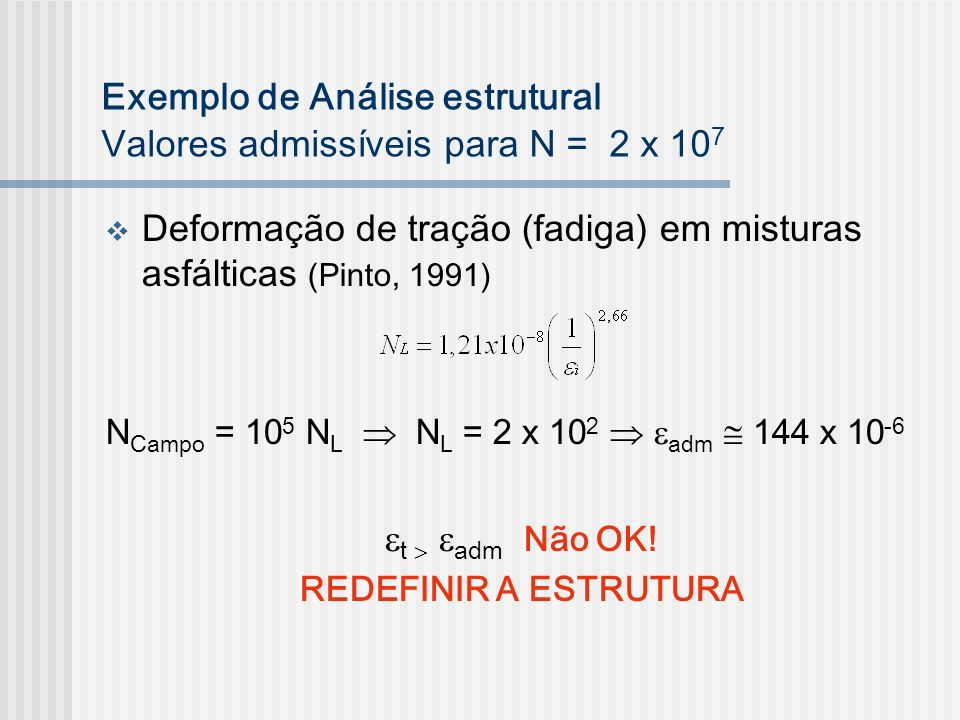 Exemplo de Análise estrutural Valores admissíveis para N = 2 x 107