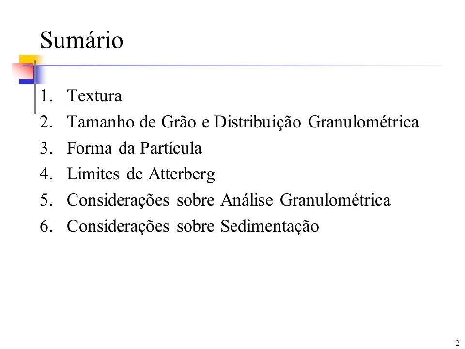Sumário Textura Tamanho de Grão e Distribuição Granulométrica