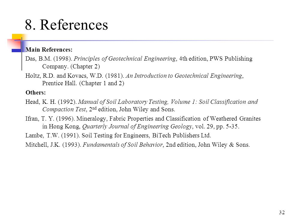 8. References Main References: