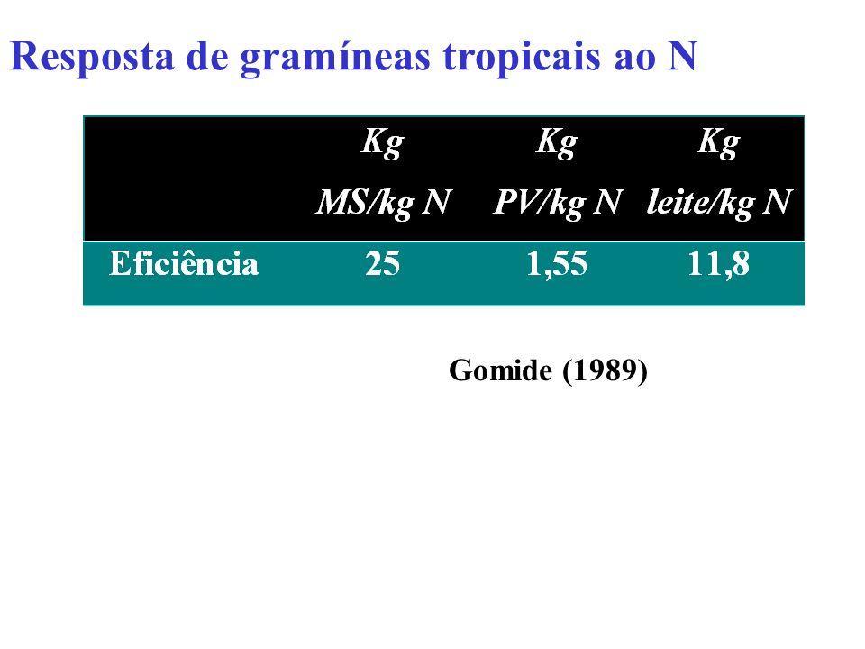 Resposta de gramíneas tropicais ao N