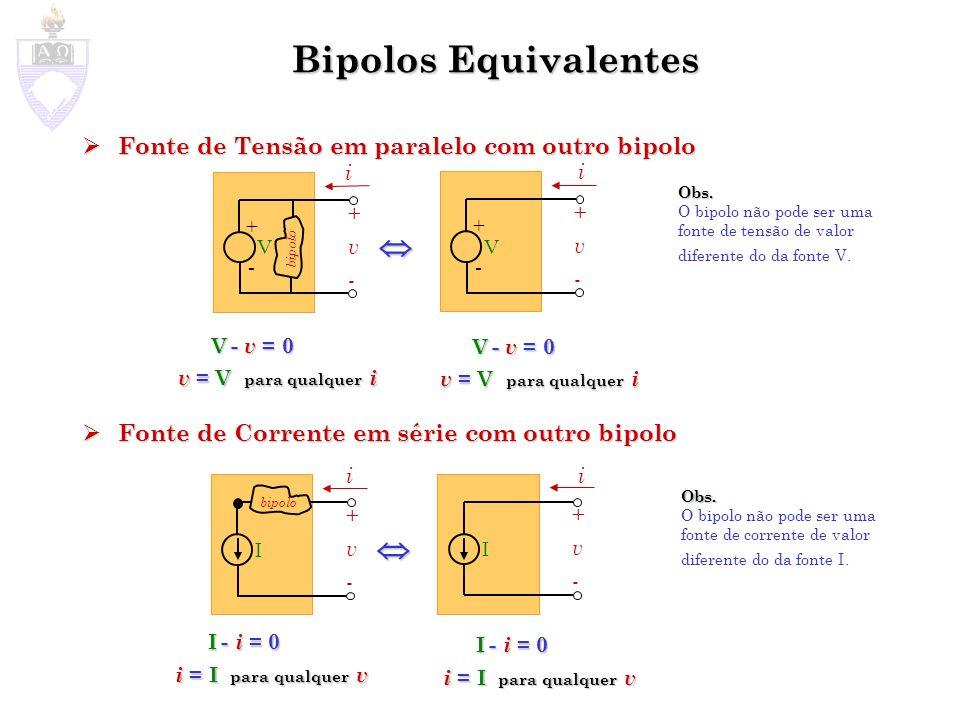Bipolos Equivalentes   Fonte de Tensão em paralelo com outro bipolo