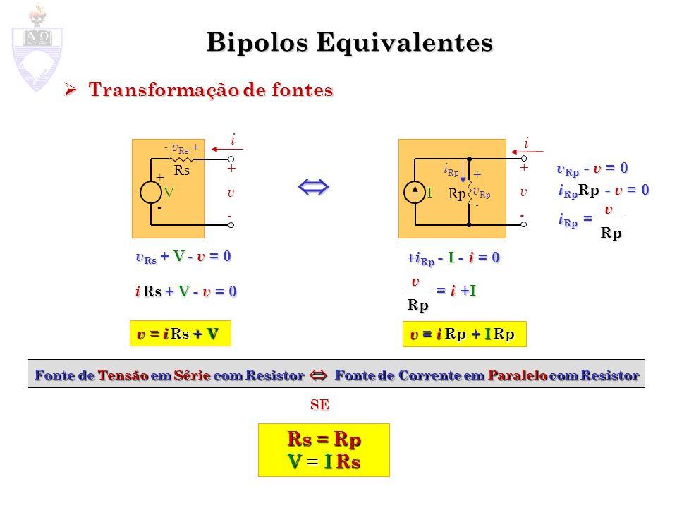  Bipolos Equivalentes Transformação de fontes Rs = Rp V = I Rs i i Rs