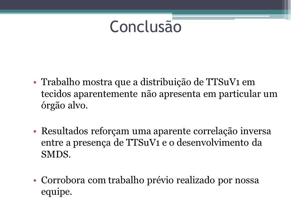 Conclusão Trabalho mostra que a distribuição de TTSuV1 em tecidos aparentemente não apresenta em particular um órgão alvo.