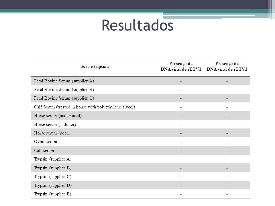 Resultados Soro e tripsina Presença de DNA viral de sTTV1