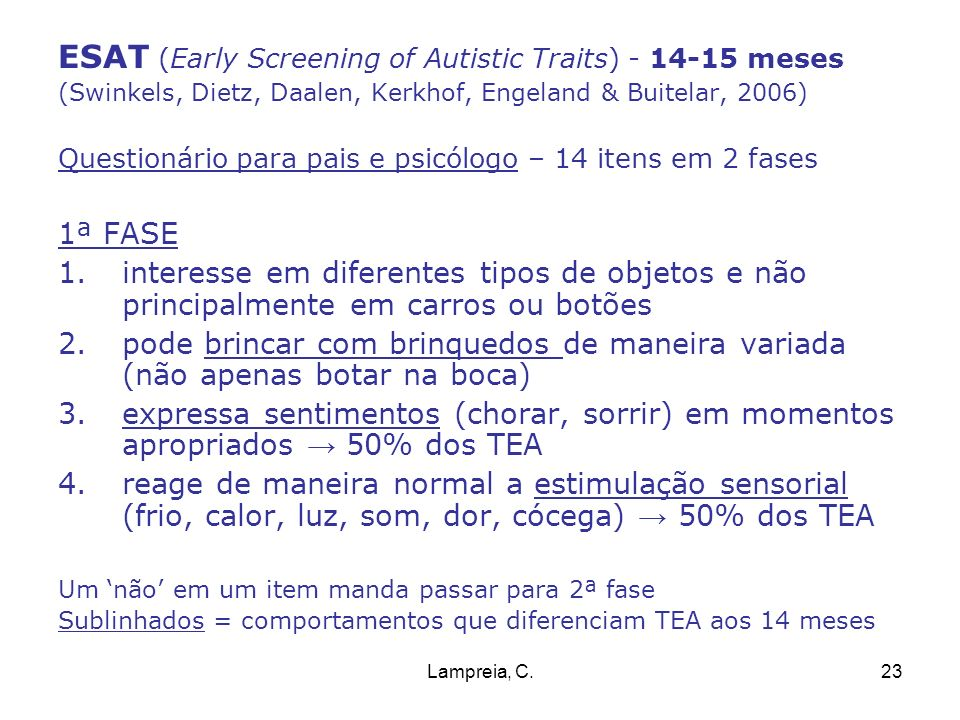 ESAT (Early Screening of Autistic Traits) - 14-15 meses
