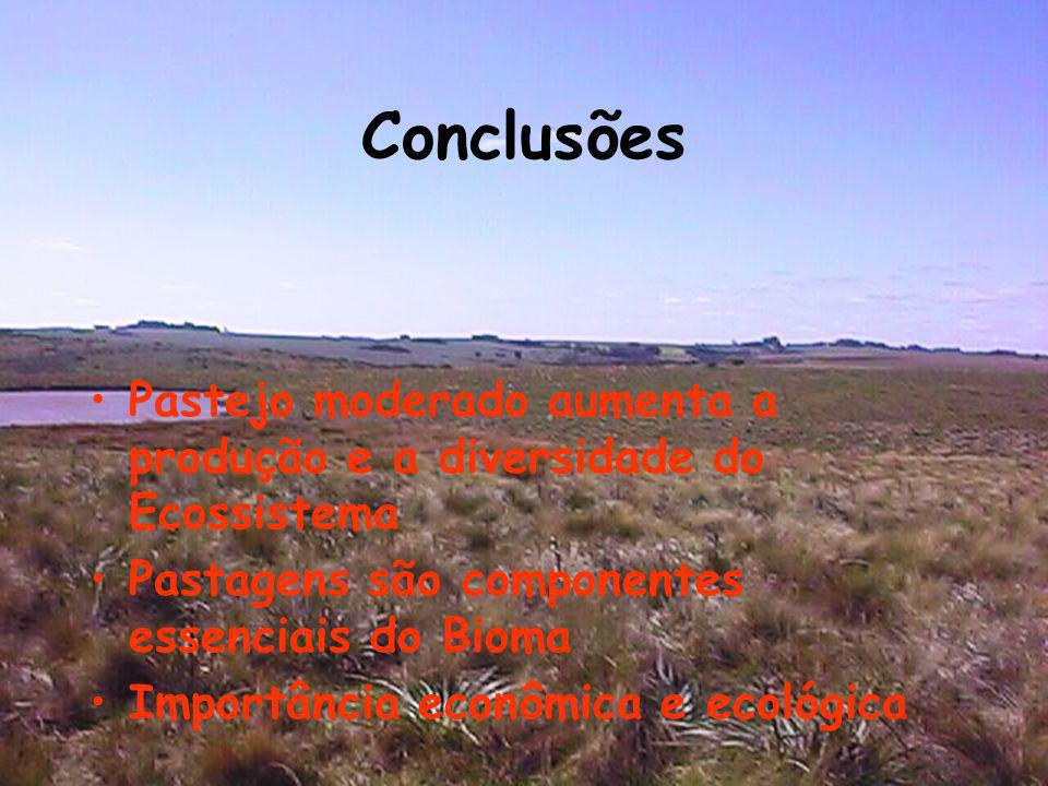 ConclusõesPastejo moderado aumenta a produção e a diversidade do Ecossistema. Pastagens são componentes essenciais do Bioma.