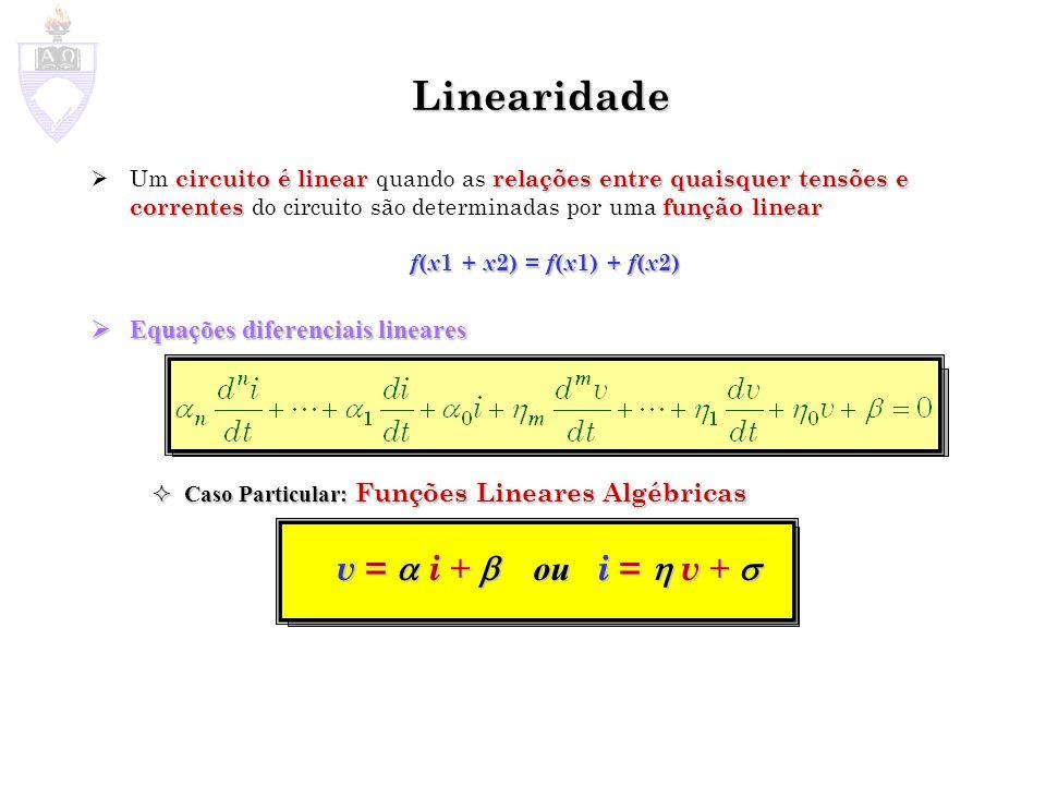 Linearidade v =  i +  ou i =  v +  Equações diferenciais lineares