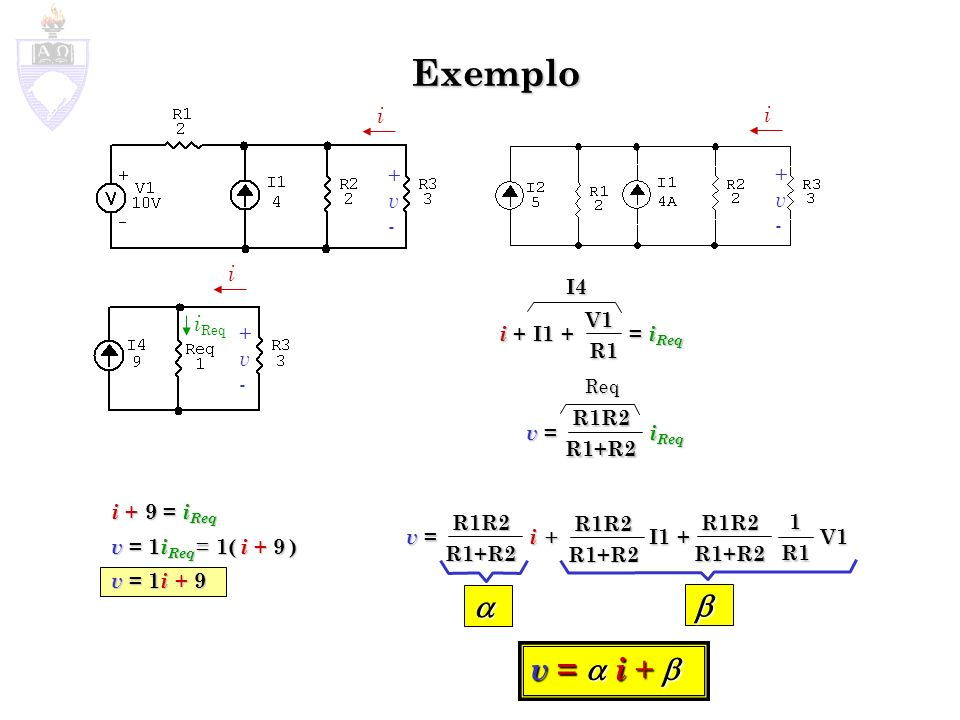 Exemplo   v =  i +  i + v - i + v - i I4 iReq i + I1 + = iReq V1