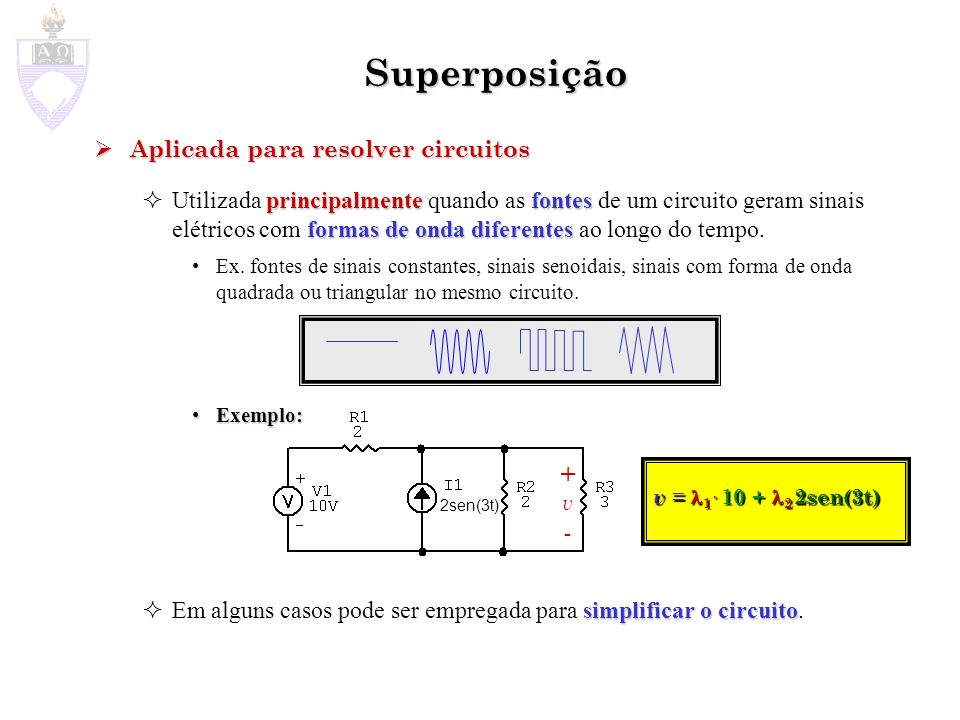 Superposição + - Aplicada para resolver circuitos