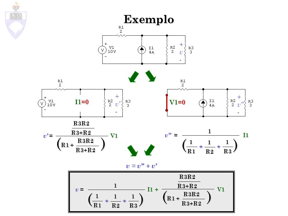 (R1 + ) ( + + ) (R1 + ) ( + + ) Exemplo + v - + + v' v'' I1=0 V1=0 - -