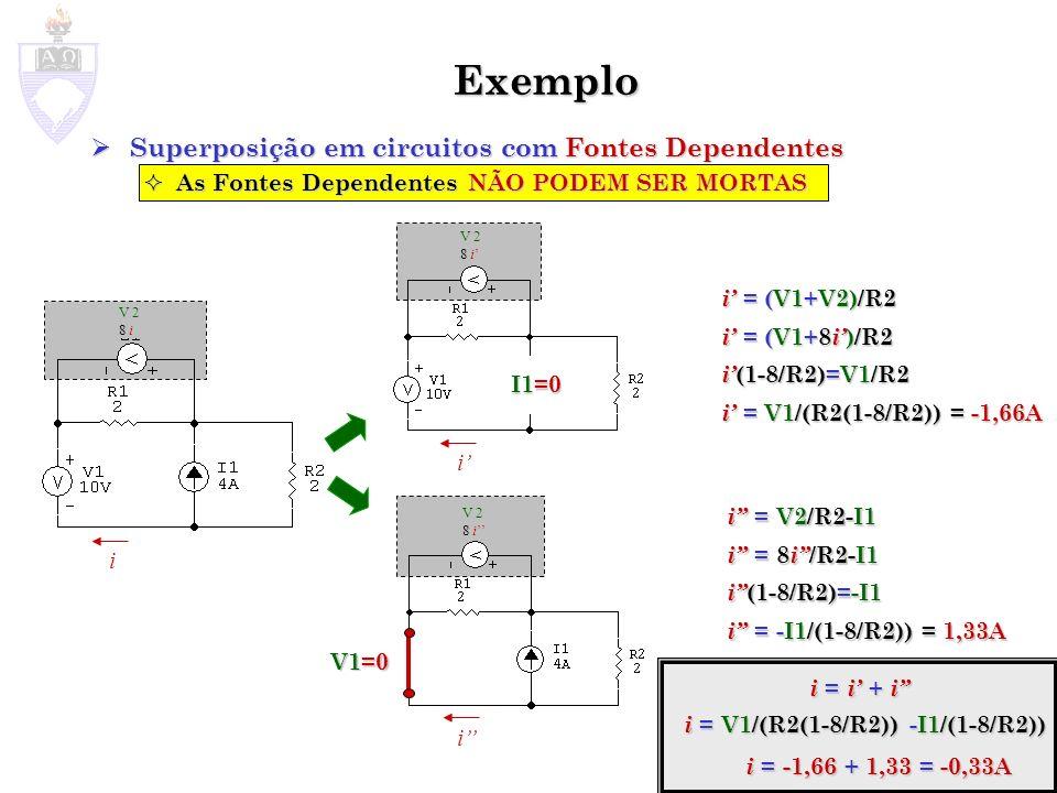 Exemplo Superposição em circuitos com Fontes Dependentes