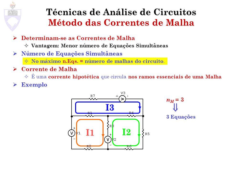 Técnicas de Análise de Circuitos Método das Correntes de Malha
