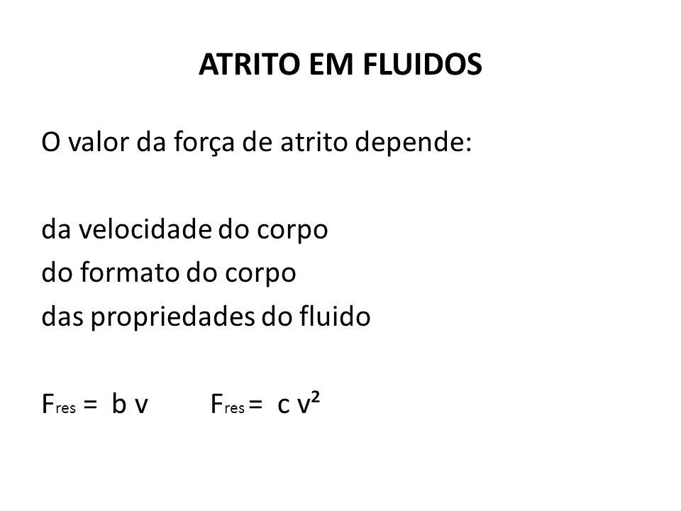 ATRITO EM FLUIDOS O valor da força de atrito depende: da velocidade do corpo do formato do corpo das propriedades do fluido Fres = b v Fres = c v²