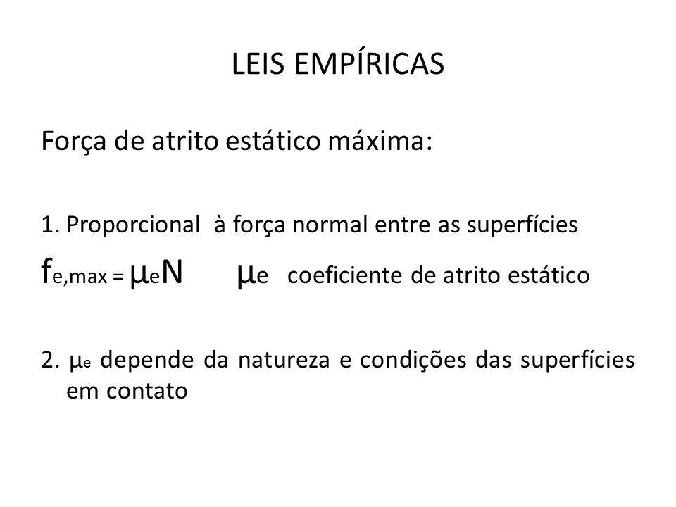 fe,max = μeN μe coeficiente de atrito estático