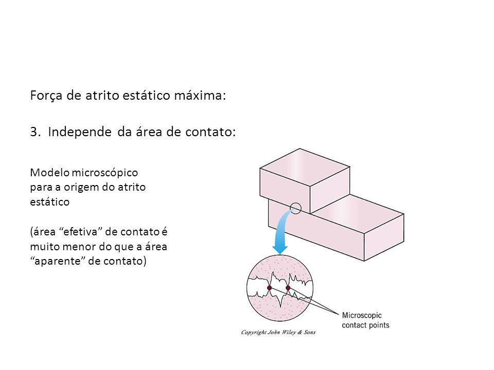 Força de atrito estático máxima: 3. Independe da área de contato: