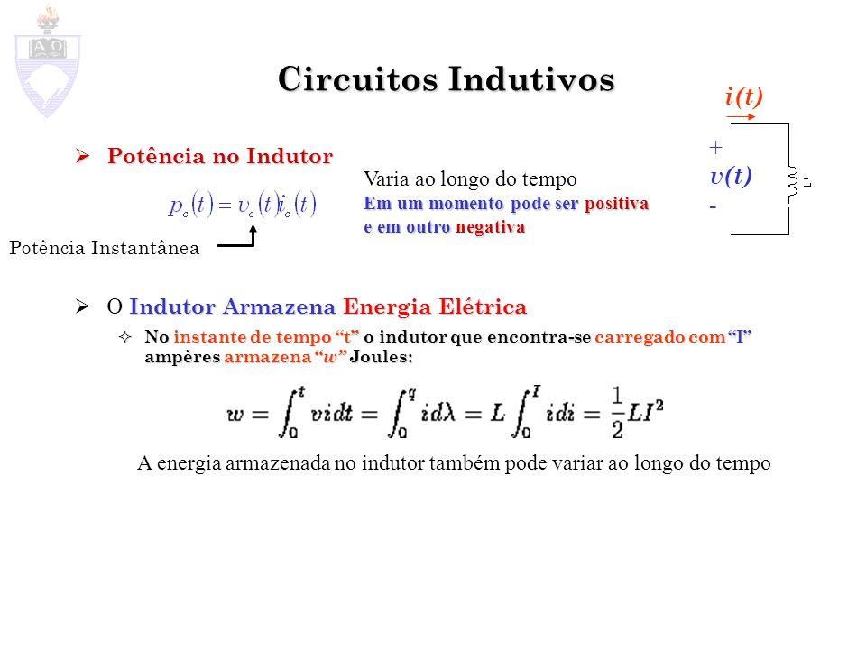 Circuitos Indutivos i(t) + v(t) - Potência no Indutor