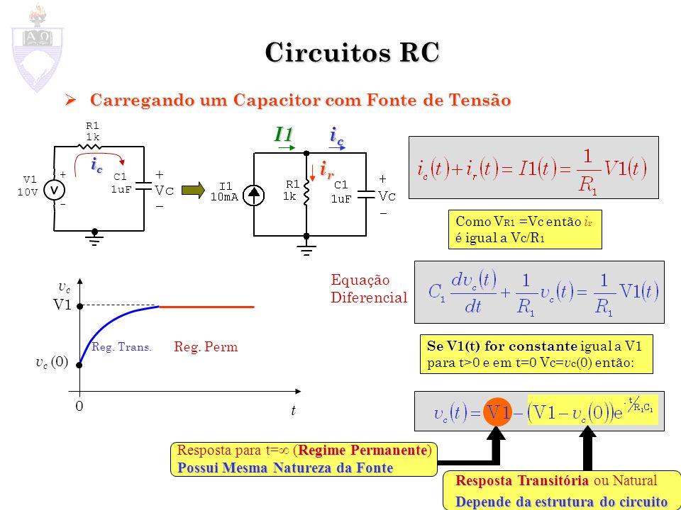 Circuitos RC I1 ic ir Carregando um Capacitor com Fonte de Tensão ic +