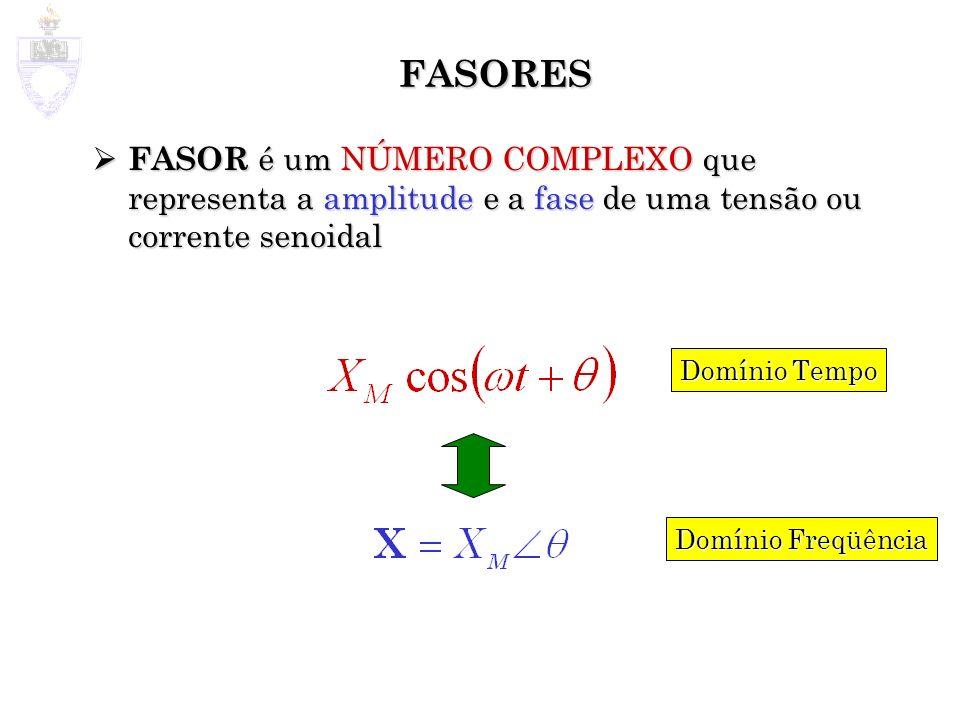 FASORES FASOR é um NÚMERO COMPLEXO que representa a amplitude e a fase de uma tensão ou corrente senoidal.
