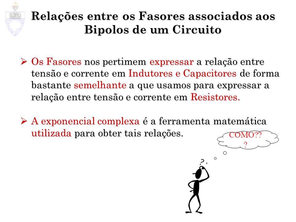 Relações entre os Fasores associados aos Bipolos de um Circuito