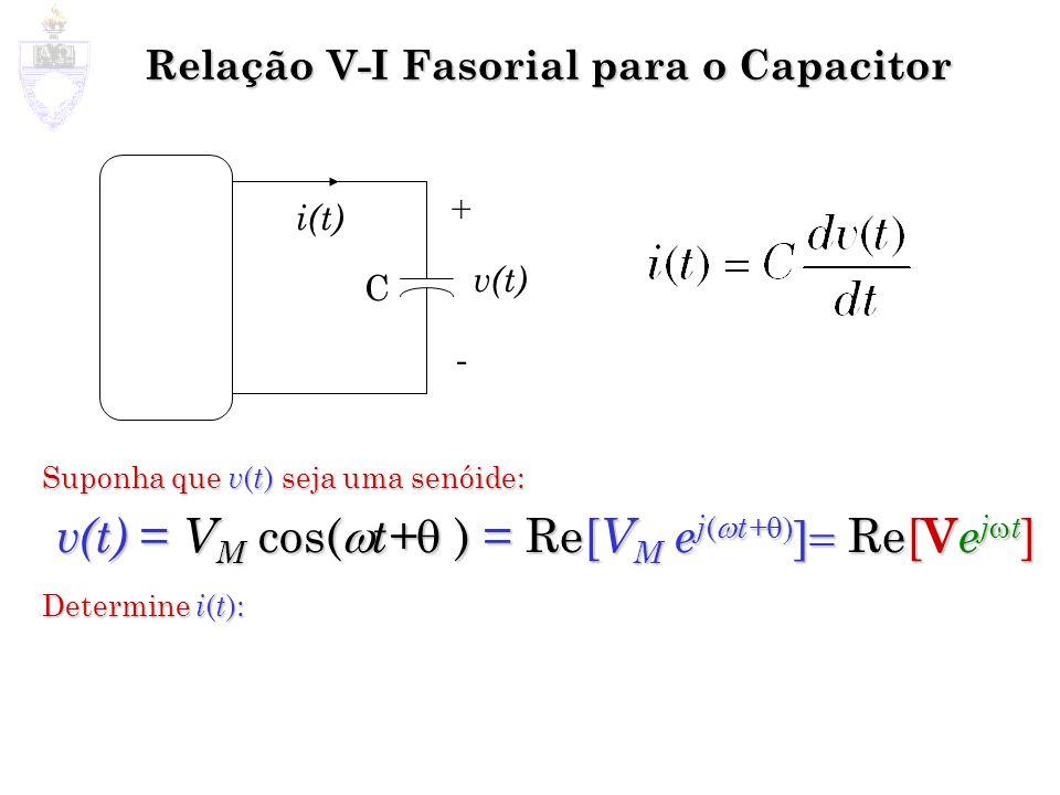 Relação V-I Fasorial para o Capacitor