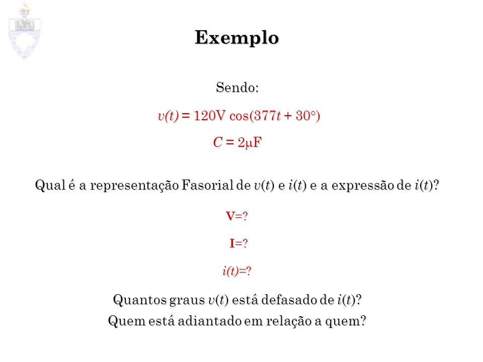 Exemplo Sendo: v(t) = 120V cos(377t + 30) C = 2mF. Qual é a representação Fasorial de v(t) e i(t) e a expressão de i(t)