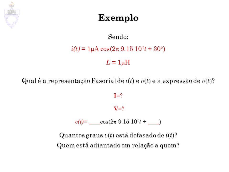 Exemplo Sendo: i(t) = 1mA cos(2p 9.15 107t + 30) L = 1mH