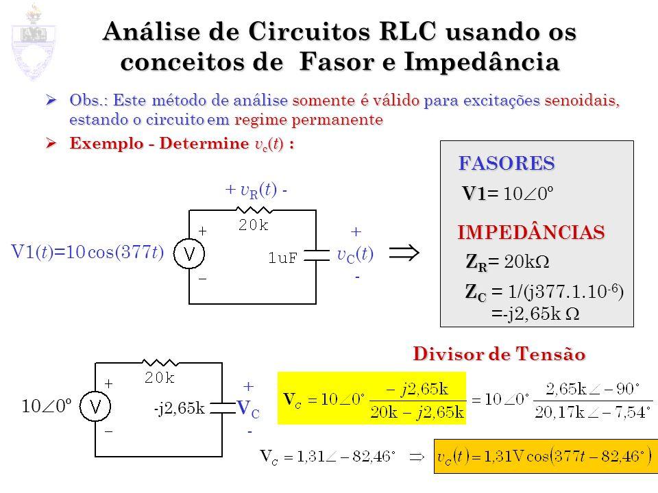Análise de Circuitos RLC usando os conceitos de Fasor e Impedância
